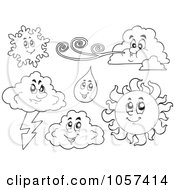 Royalty Free Vector Clip Art Illustration Of A Digital Collage Of Outlined Weather Characters by visekart