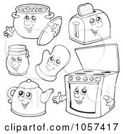 Royalty Free Vector Clip Art Illustration Of A Digital Collage Of Outlined Kitchen Characters