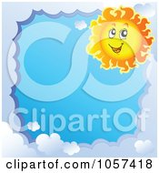 Royalty Free Vector Clip Art Illustration Of A Cloud Frame And A Sun Around Blue Sky