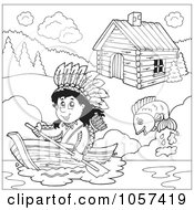 Royalty Free Vector Clip Art Illustration Of A Coloring Page Outline Of A Native American Boating By A Cabin by visekart