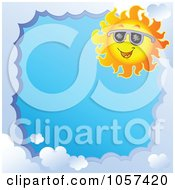 Royalty Free Vector Clip Art Illustration Of A Cloud Frame And A Sun Wearing Shades Around Blue Sky