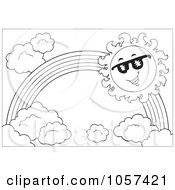 Royalty Free Vector Clip Art Illustration Of A Coloring Page Outline Of A Sun And Rainbow