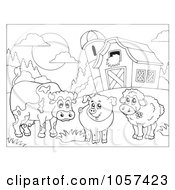 Royalty Free Vector Clip Art Illustration Of A Coloring Page Outline Of A Cow Pig And Sheep By A Barn