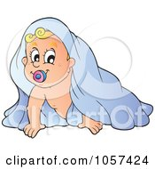 Royalty Free Vector Clip Art Illustration Of A Baby Crawling Under A Blanket