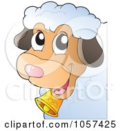 Royalty Free Vector Clip Art Illustration Of A Farmyard Sheep With A Bell