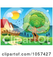 Royalty Free Vector Clip Art Illustration Of Birds And A Sun Over Houses And A Tree