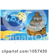 Royalty Free Vector Clip Art Illustration Of A Mysterious Pirate Ship Near An Island At Night