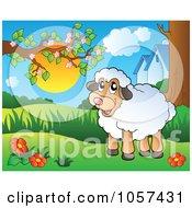 Royalty Free Vector Clip Art Illustration Of A Farmyard Sheep In A Spring Meadow
