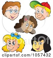 Royalty Free Vector Clip Art Illustration Of A Digital Collage Of Faces Of Diverse Children by visekart