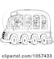 Royalty Free Vector Clip Art Illustration Of A Coloring Page Outline Of Kids On A School Bus