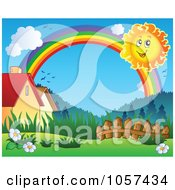 Royalty Free Vector Clip Art Illustration Of A Sun And Rainbow Over A Meadow And Houses