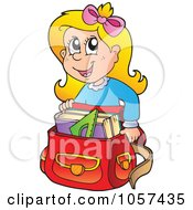 Royalty Free Vector Clip Art Illustration Of An Excited School Girl Crouching By His Back Pack by visekart