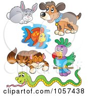 Royalty Free Vector Clip Art Illustration Of A Digital Collage Of Domestic Pets