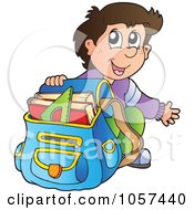 Royalty Free Vector Clip Art Illustration Of An Excited School Boy Crouching By His Back Pack