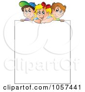 Royalty Free Vector Clip Art Illustration Of Kids Over A Blank Sign