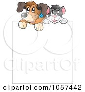 Royalty Free Vector Clip Art Illustration Of A Shelter Dog And Cat Over A Blank Sign