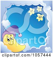Royalty Free Vector Clip Art Illustration Of A Cloud Frame And A Moon With Stars Around Sky by visekart