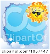 Royalty Free Vector Clip Art Illustration Of A Cloud Frame And A Sun Winking And Wearing Shades Around Blue Sky