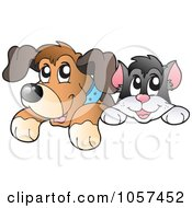 Royalty Free Vector Clip Art Illustration Of A Cat And Dog Looking Over A Blank Board