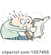 Royalty Free Vector Clip Art Illustration Of A Toon Guy Sitting And Reading Shocking News