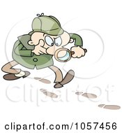 Royalty Free Vector Clip Art Illustration Of A Toon Guy Detective Following Tracks