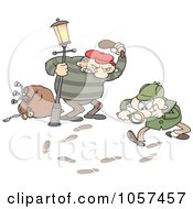 Royalty Free Vector Clip Art Illustration Of Tracks Leading A Toon Guy Detective To A Robber by gnurf