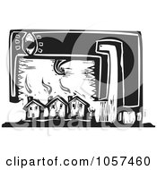 Royalty Free Vector Clip Art Illustration Of A Black And White Woodcut Styled Monster Over Housing