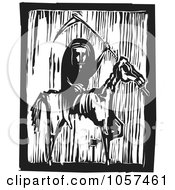 Black And White Woodcut Styled Grim Reaper On A Famine Horse