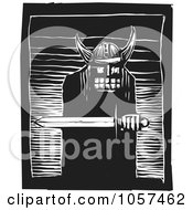 Royalty Free Vector Clip Art Illustration Of A Black And White Woodcut Styled Warrior Holding A Sword by xunantunich