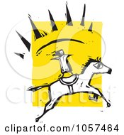 Royalty Free Vector Clip Art Illustration Of A Woodcut Styled Person Standing On A Running Horse