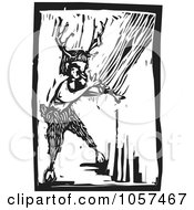 Black And White Woodcut Styled Faun Playing An Instrument