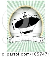 Royalty Free Vector Clip Art Illustration Of A Silhouetted Airship With A Blank Banner Over Green Rays