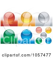Digital Collage Of Shiny 3d Grid Spheres
