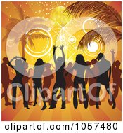 Royalty Free Vector Clip Art Illustration Of Silhouetted People Partying On A Beach