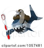 Royalty Free CGI Clip Art Illustration Of A 3d Pirate Shark Holding A Tooth Brush 2