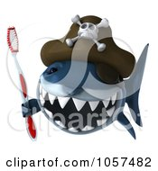 Royalty Free CGI Clip Art Illustration Of A 3d Pirate Shark Holding A Tooth Brush 1