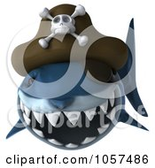 Royalty Free CGI Clip Art Illustration Of A 3d Pirate Shark