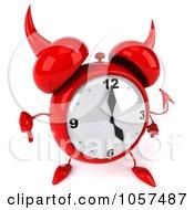 Royalty Free CGI Clip Art Illustration Of A 3d Devil Alarm Clock Holding A Thumb Down