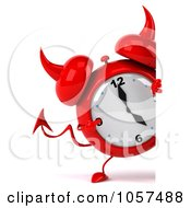 Royalty Free CGI Clip Art Illustration Of A 3d Devil Alarm Clock Pointing At A Blank Sign by Julos