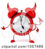 Royalty Free CGI Clip Art Illustration Of A 3d Devil Alarm Clock Gesturing by Julos