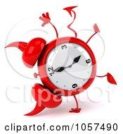 Royalty Free CGI Clip Art Illustration Of A 3d Devil Alarm Clock Doing A Cartwheel by Julos