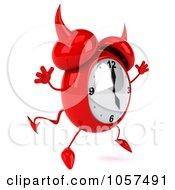 Royalty Free CGI Clip Art Illustration Of A 3d Devil Alarm Clock Facing Right And Jumping