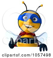 Royalty Free CGI Clip Art Illustration Of A 3d Chubby Bee Super Hero Over A Sign With A Thumbs Up
