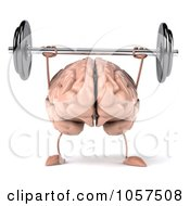 Royalty Free CGI Clip Art Illustration Of A 3d Brain Character Lifting A Barbell 1