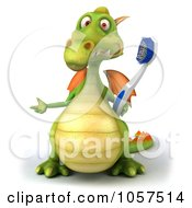 Royalty Free CGI Clip Art Illustration Of A 3d Dental Dragon With A Tooth Brush 2