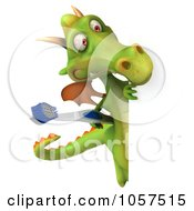 Royalty Free CGI Clip Art Illustration Of A 3d Dental Dragon With A Tooth Brush And Sign 2