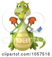 Royalty Free CGI Clip Art Illustration Of A 3d Dental Dragon With A Tooth Brush 3