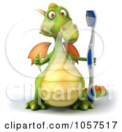 Royalty Free CGI Clip Art Illustration Of A 3d Dental Dragon With A Tooth Brush 1