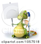 Royalty Free CGI Clip Art Illustration Of A 3d Dental Dragon With A Tooth Brush And Sign 1