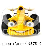 Royalty Free CGI Clip Art Illustration Of A 3d Yellow Formula One Race Car by Julos